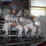 CG4G8796_1 --- (6 May 2015) --- At the Gagarin Cosmonaut Training Center in Star City, Russia, Expedition 44/45 backup crewmembers Timothy Peake of the European Space Agency (left), Yuri Malenchenko of the Russian Federal Space Agency (Roscosmos, center)