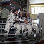 CG4G8846_1 --- (6 May 2015) --- At the Gagarin Cosmonaut Training Center in Star City, Russia, Expedition 44/45 backup crewmembers Timothy Peake of the European Space Agency (left), Yuri Malenchenko of the Russian Federal Space Agency (Roscosmos, center)