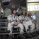 CG4G8787  --- (6 May 2015) --- At the Gagarin Cosmonaut Training Center in Star City, Russia, Expedition 44/45 backup crewmembers Timothy Peake of the European Space Agency (left), Yuri Malenchenko of the Russian Federal Space Agency (Roscosmos, center) a