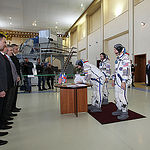CG4G8740_1 --- (6 May 2015) --- At the Gagarin Cosmonaut Training Center in Star City, Russia, Expedition 44/45 backup Soyuz Commander Yuri Malenchenko of the Russian Federal Space Agency (Roscosmos) signs in for the first of two days of qualification exa