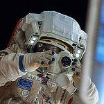 Oleg Kotov Takes a Picture During a Spacewalk