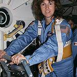 Christa McAuliffe Trains on a Treadmill