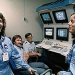 Christa McAuliffe and Barbara Morgan Train in the Shuttle Mission Simulator