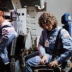Christa McAuliffe and Pilot Michael Smith Train in the Shuttle Mission Simulator